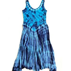 American South Side Blue Tie Dye Maxi Dress